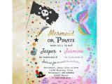 Mermaid Party Invitation Template Mermaid Pirate Birthday Invitation Siblings Party Zazzle