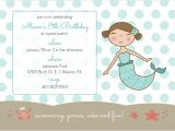 Mermaid Pool Party Invitation Wording Blue Mermaid and Dots Kids Pool Party Invitation Pool