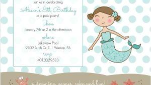 Mermaid Pool Party Invitation Wording Blue Mermaid and Dots Kids Pool Party Invitation Pool