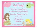 Mermaid Pool Party Invitation Wording Krw Cute Mermaid Pool Party Invitations 4 25 Quot X 5 5