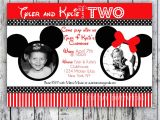 Mickey and Minnie Mouse Birthday Invitations for Twins Minnie Mouse Printable Birthday Invitations