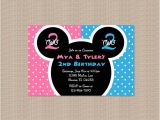 Mickey and Minnie Mouse Birthday Invitations for Twins Twin Mickey & Minnie Birthday Party Invitations by Honeyprint