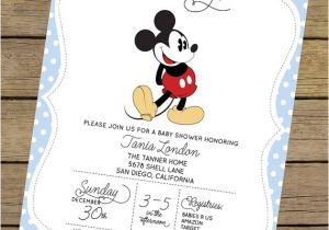 Mickey Mouse Baby Shower Invitations for A Boy Mickey Mouse Baby Shower Invitation Boy Baby by