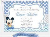 Mickey Mouse Baptism Invitations Printed Baby Mickey Birthday Invitations Mickey Baptism