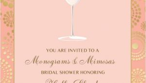 Mimosa themed Bridal Shower Invitations Monogram and Mimosas Bridal Shower Invitation Pink Gold