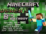 Minecraft Party Invitation Template Minecraft Birthday Invitations Template Party