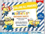 Minion Birthday Party Invitations Templates Minions Birthday Invitation 7 by Templatemansion On