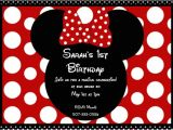 Minnie and Mickey Mouse Party Invitations Free Minnie Mouse 1st Birthday Invitations Templates