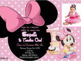 Minnie Mouse 1st Birthday Invitations Templates Baby Minnie 1st Birthday Invitations
