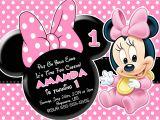 Minnie Mouse 1st Birthday Invitations Templates Minnie Mouse Invitation Template