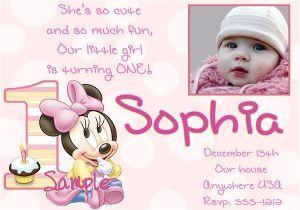 Minnie Mouse 1st Birthday Photo Invitations 1st Birthday Invitation Minnie Mouse 365greetings