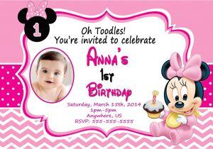 Minnie Mouse 1st Birthday Photo Invitations Baby Minnie Mouse 1st Birthday Invitations