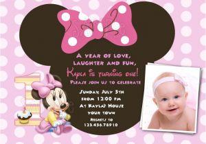 Minnie Mouse 1st Birthday Photo Invitations Free Download Minnie Mouse 1st Birthday Invitations