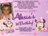 Minnie Mouse 1st Birthday Photo Invitations Minnie Mouse 1st Birthday Invitations Printable Digital File
