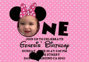 Minnie Mouse 1st Birthday Photo Invitations Minnie Mouse Birthday Invitations Personalized – Bagvania