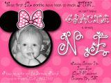 Minnie Mouse 1st Birthday Photo Invitations Minnie Mouse First Birthday Custom Invitation by Chloemazurek