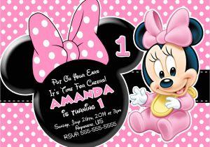 Minnie Mouse 1st Birthday Photo Invitations Minnie Mouse First Birthday Invitations