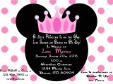 Minnie Mouse Baby Shower Invitation Minnie Mouse Princess Baby Shower Invitation Printed with