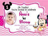 Minnie Mouse First Birthday Invitations Free Baby Minnie Mouse 1st Birthday Invitations