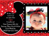 Minnie Mouse First Birthday Invitations Red Minnie Mouse Damask Background Birthday Party Invitations
