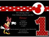 Minnie Mouse First Birthday Invitations Red Minnie Mouse Party Supplies Red and Black