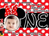 Minnie Mouse First Birthday Invitations Red Red Minnie Mouse 1st Birthday Invitations