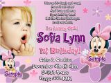 Minnie Mouse First Birthday Invitations Wording 1st Wording Birthday Invitations Ideas – Bagvania Free