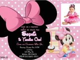 Minnie Mouse First Birthday Invitations Wording Baby Minnie 1st Birthday Invitations