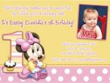 Minnie Mouse First Birthday Invitations Wording Minnie Mouse 1st Birthday Invitations