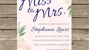 Miss to Mrs Bridal Shower Invitations Miss to Mrs Bridal Shower Invitation Blush Pink and Navy
