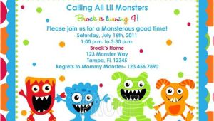Monster Birthday Invitation Template Adorable Monster Birthday Invitations