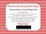 My Favorite Things Party Invitation Wording Land Of Collins My Favorite Things Party Invitation