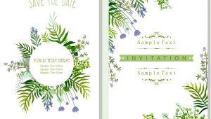 Nature Wedding Invitation Template Wedding Invitation Card Template Nature theme Green Leaves