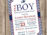 Nautical themed Baby Shower Invites Chevron Nautical Baby Shower Invitation Red Blue Anchor