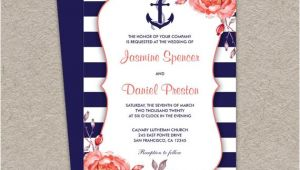 Nautical themed Wedding Invitation Template Nautical Wedding Invitation Printable Navy Blue and Coral