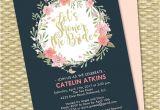 Navy and Blush Bridal Shower Invitations Navy Blue Blush Pink Peach Floral Bridal Shower Invitation