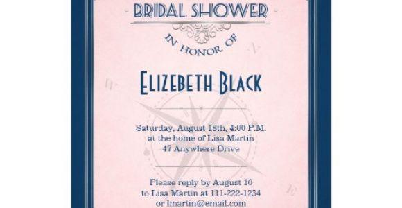 Navy and Blush Bridal Shower Invitations Navy Blush Pink Silver Vintage Frame Bridal Shower 5×7