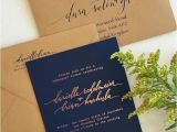 Navy Blue and Rose Gold Wedding Invitations Rose Gold Foil with Navy Paper and Kraft Envelopes