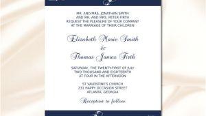 Navy Blue Wedding Invitation Template Navy Blue Wedding Invitation Template Diy Elegant Modern