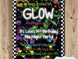 Neon Birthday Invitation Template Glow In the Dark Party Invitation Neon by Heartsandcraftsy