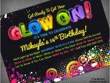 Neon Birthday Invitation Template Glow Neon Black Light Party Customized Printable Invitation
