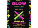 Neon Birthday Invitation Template Glow Party Neon Birthday Invitation Zazzle Com