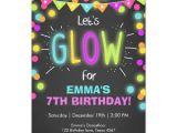 Neon Birthday Invitation Template Neon Glow In the Dark Birthday Invitation Zazzle