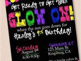 Neon Birthday Invitation Template Neon Glow In the Dark Birthday Party Invitation by