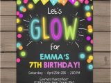 Neon Birthday Invitation Template Neon Glow Party Invitation Glow Birthday Invitation Glow In