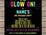 Neon Birthday Invitation Template Neon Glow Party Invitations Template Editable and Printable