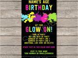 Neon Birthday Invitation Template Neon Glow Party Ticket Invitation Template Editable Pdf