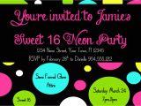 Neon Birthday Invitation Template Neon Sweet 16 Birthday Invitation Template 4×6