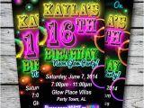 Neon Birthday Invitation Template Sweet 16 Glow In the Dark theme Neon Disco Birthday Party
