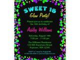 Neon Birthday Invitation Template Sweet 16 Neon Glow Confetti Birthday Party Invitation
